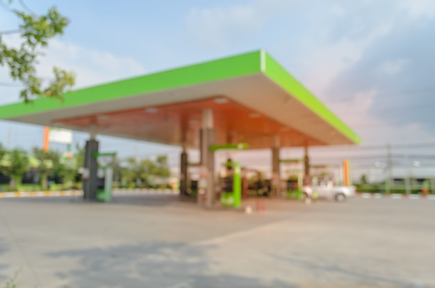 Blurred image of gas station or filling station