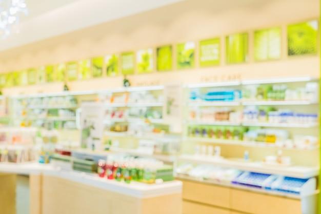 Blurred image of geen hygiene cosmetic shelf