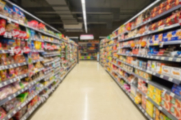Blurred image of supermarket aisle and shelves