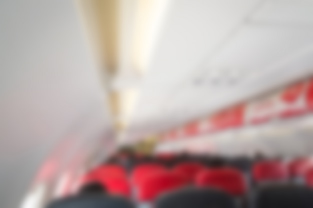Blurred interior of the airplane