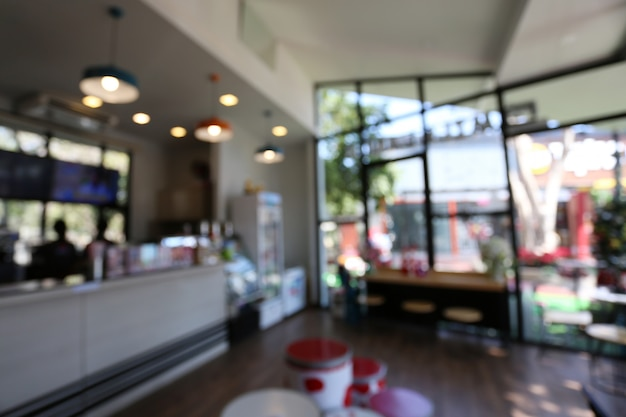 Blurred the interior of the coffee shop