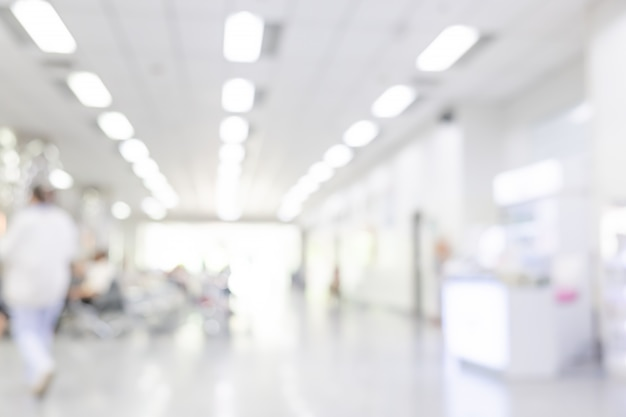 Blurred interior of hospital or clinical with people