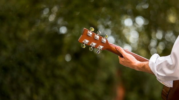 Blurred leaves and man playing guitar from behind shot