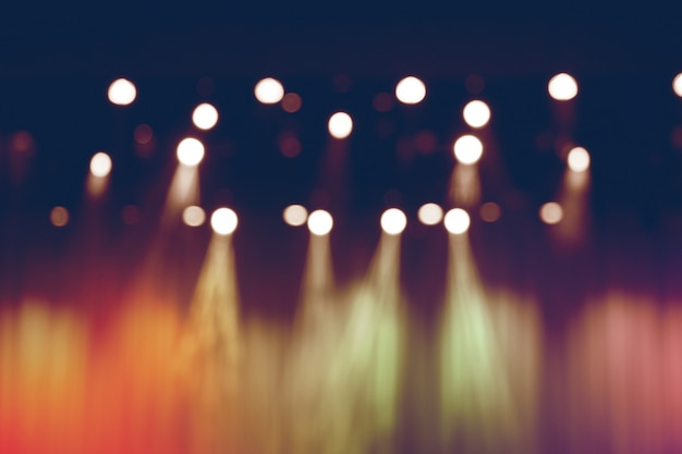 Blurred lights on stage, abstract image of spotlight concert.