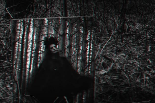 Blurred mystical silhouette of an evil terrible witch in a mirror. black and white with 3d glitch virtual reality effect