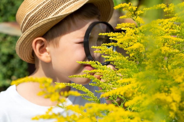 Blurred out of focus adorable little child boy in straw hat look at green plant leaves and