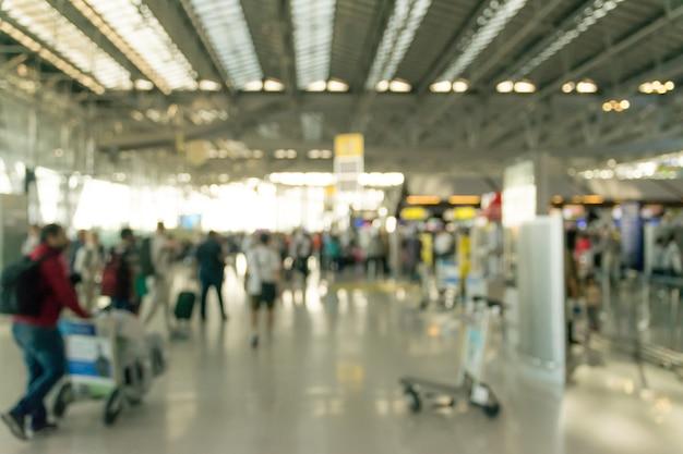 Blurred of passenger at international suvarnabhumi airport