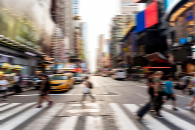 Blurred people crossing the street