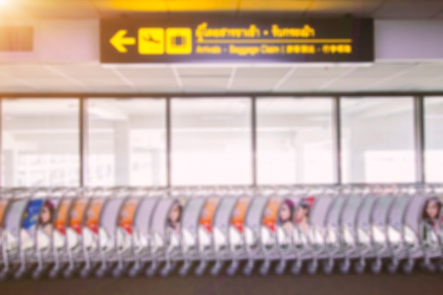 Blurred pictures of luggage in the airport