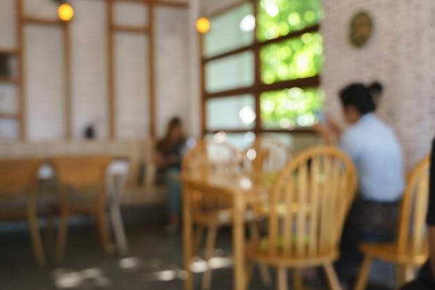 ぼやけたレトロなアジアンスタイルのカフェとレストラン