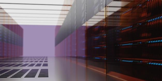 흐리게 서버 데이터 룸 내부 배경입니다. 3d 렌더링