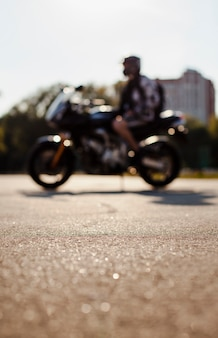 Blurred shot of man on motorbike