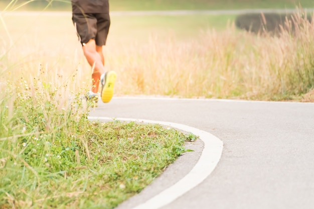 Blurred soft images of people are exercise with running