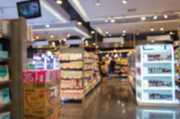 Blurred supermarket food