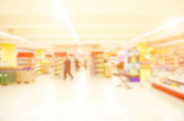 Blurred supermarket store