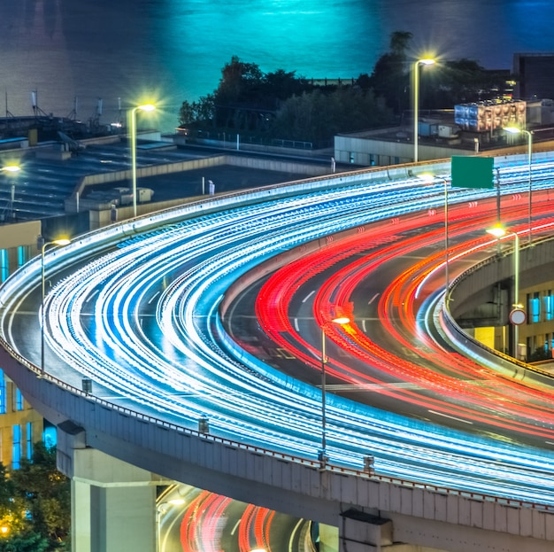 Blurred traffic light trails