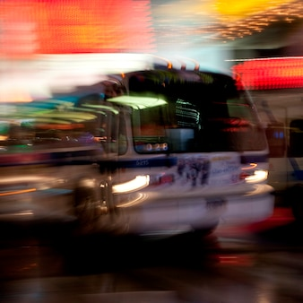 Blurred view of a bus in manhattan, new york city, u.s.a.