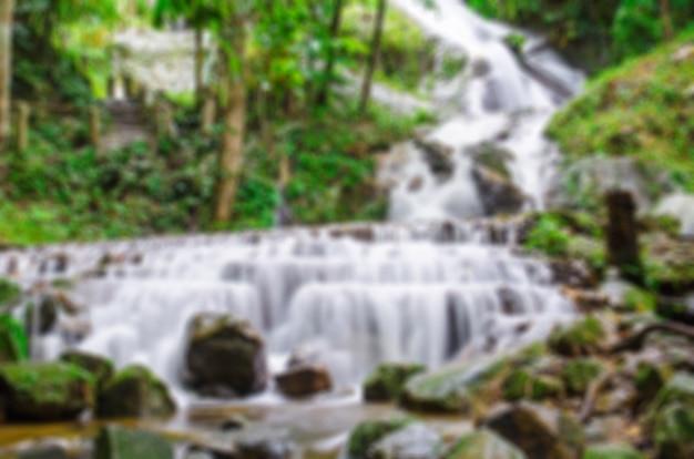 Blurred of waterfall at mae kampong, chiang mai, thailand
