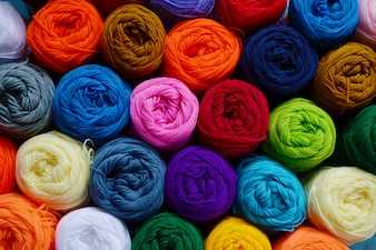 Blurry background of colorful knitting