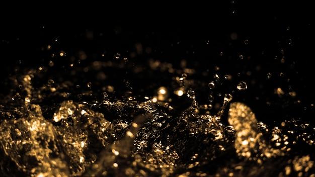 ディーゼルガソリンからの油液が飛散し、黒で空中に移動するぼやけた画像