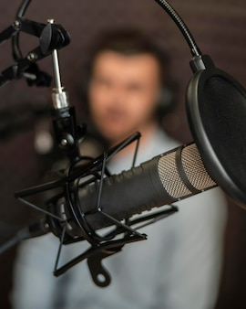 Blurry man with radio equipment
