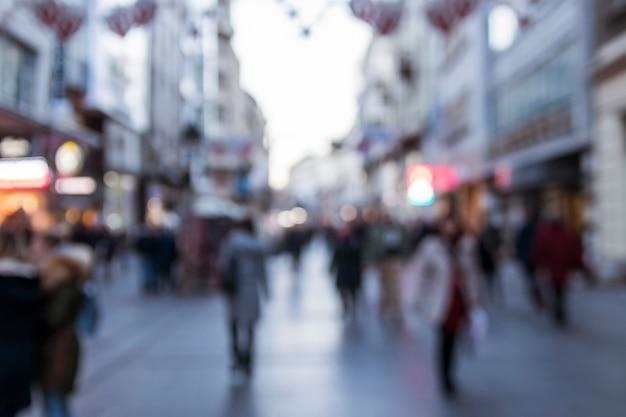 Blurry street scene in city
