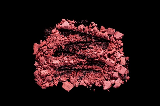 Румяна или прессованный порошок текстурированный черный изолированный фон