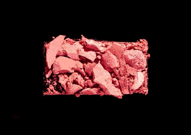 Blusher or pressed powder textured black isolated background