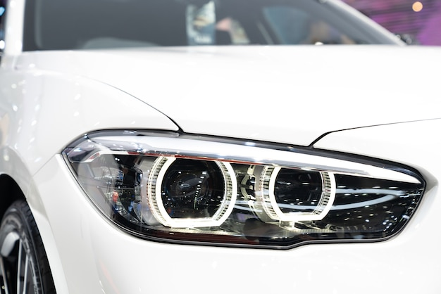 Bmw 8 series coupe be closeup led headlight with laserlight