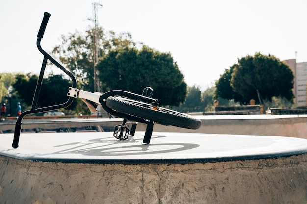 Bmx bike in a skatepark in sunlight