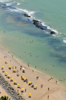 Boa viagem beach bathers and colorful parasols recife pernambuco brazil on september 27 2008