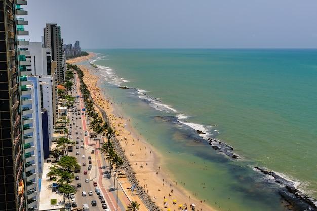 Boa viagem beach crowded with bathers recife pernambuco brazil on september 27 2008