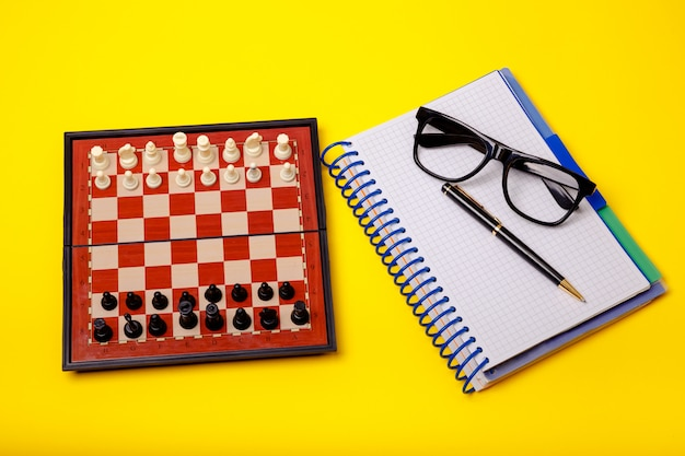 Board with chess figures on it. business concept, leader and success
