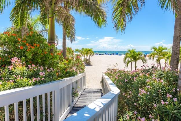 Boardwalk on beach in st pete, florida, usa