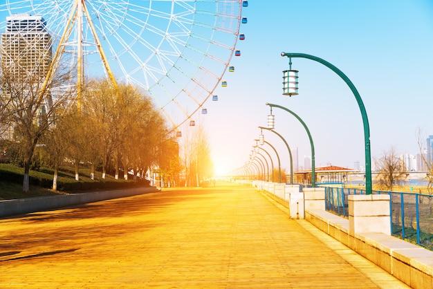 Boardwalk in the distance from the ferris wheel