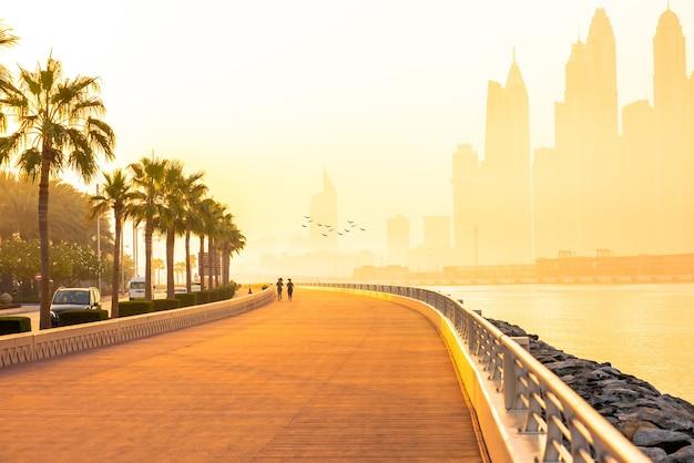 Boardwalk in the morning of dubai marina at sunrise