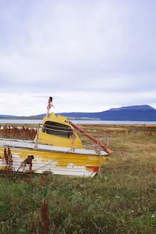 Boat abandoned ashore.