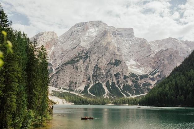 Boat on the braies lake (lake pragser wildsee, lago di braies) in sudtirol, italy.