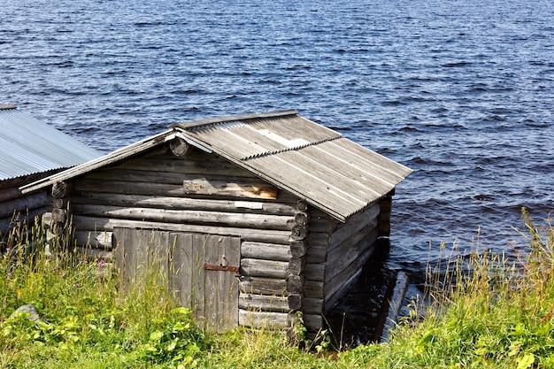 Boat dock on lake onega in russia.