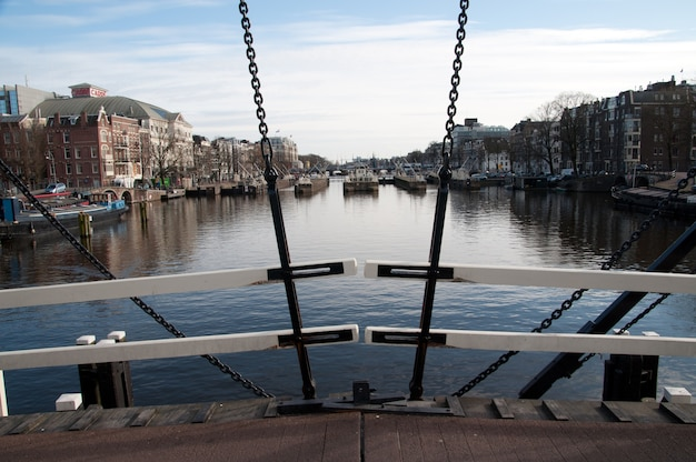 Boat house and channels in amsterdam, netherlands