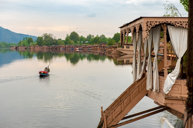 Boat house on the lake for tourist services in srinagar kashmir, india.