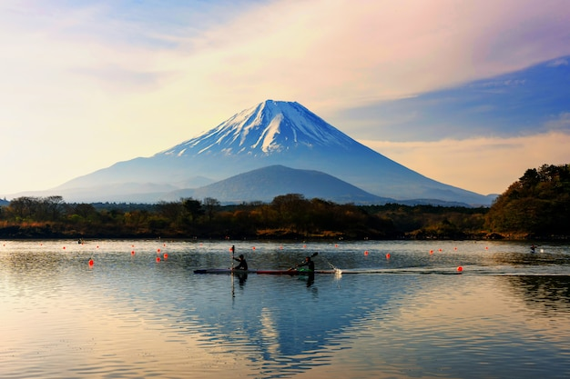 Boat kayaking around mountain fuji