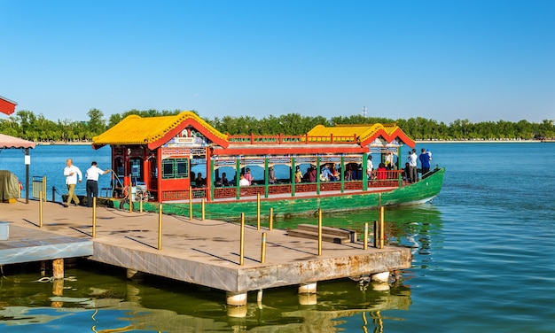Boat on kunming lake at the summer palace in beijing