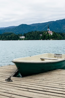 Boat on lake bled in slovenia