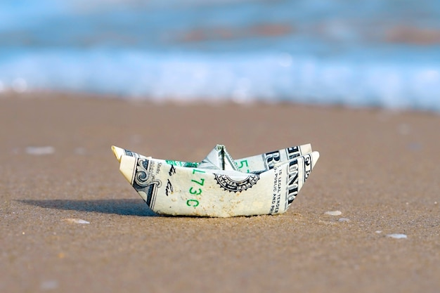 Origami Boat Built Of One Hundred Dollar Bill Stock Photo, Picture ... | 417x626