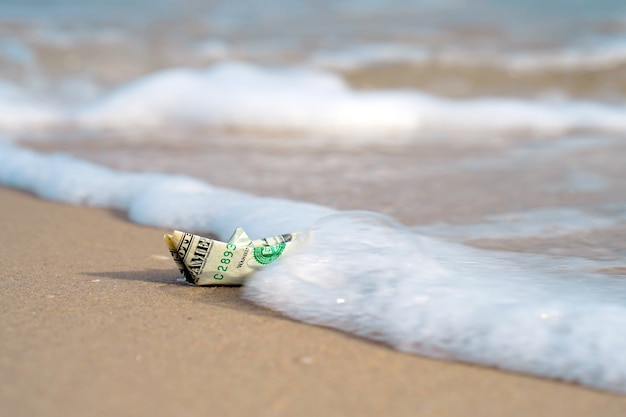 A boat made of paper money