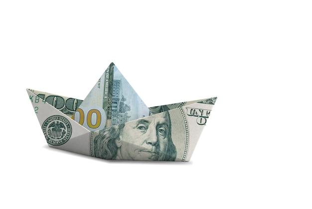 Boat money on white isolated