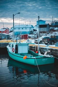Boat parked beside dock
