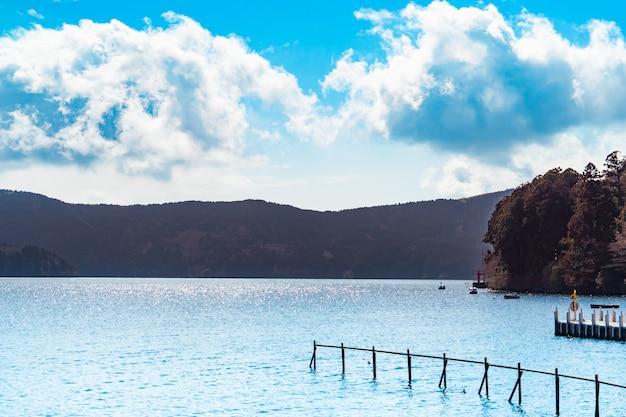 The boat pier of ashi lake in hakone japan