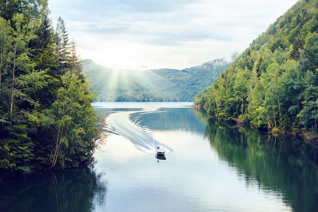 Boat riding on vidraru lake